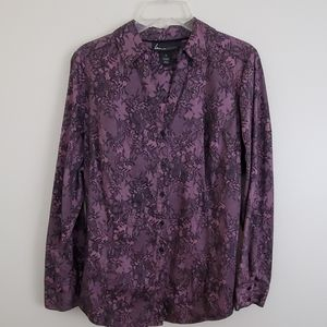 Lane Bryant Purple & Black Lace Look Blouse - 20